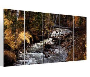 Leinwandbilder 5 teilig XXL 200x100cm Herbst Wald Fluss Baum Bäume Natur Landschaft Druck auf Leinwand Bild 9BM117
