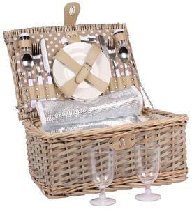 Weiden - Picknickkorb für 2 Personen mit Kühltasche - Komplettsett
