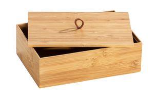 Nachhaltige Aufbewahrungdosen Boxen aus Bambus mit Deckel 3 Fächer