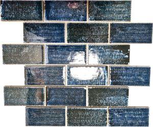 Mosaikfliese Keramik Mosaik Verbund grün glänzend Fliesenspiegel Wand MOS26-KAS8
