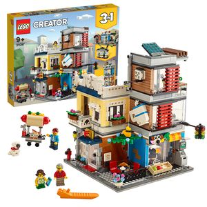 LEGO 31097 Creator 3in1 Stadthaus mit Zoohandlung & Café, Modellbausatz, Spielzeug, Gebäude aus Bausteinen, Geschenk für Mädchen und Jungen ab 9 Jahre
