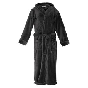 Lumaland Luxury Mikrofaser Bademantel mit Kapuze für Damen und Herren verschiedene Größen und Farben Grau XL