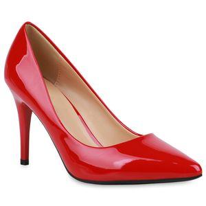 Mytrendshoe Damen Spitze Pumps Elegante Abendschuhe Stiletto High Heels 833509, Farbe: Rot, Größe: 38
