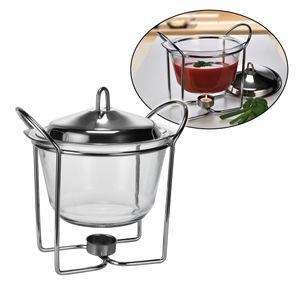 Suppenterrine aus Glas Suppenschüssel mit Deckel Teelichthalter Edelstahl