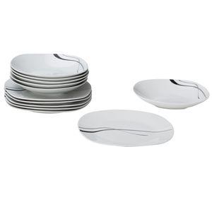 Van Well Tafelservice Silver Night, 12tlg 6 Personen, 6 Speiseteller + 6 Suppenteller, Linien-Dekor