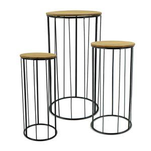 Pflanzsäule Holz / Metall - 3er Set rund - ca. 50,60 und 70 cm