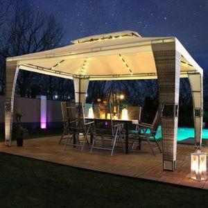 LED - Rattan Pavillon 3x4m Royal mit Solar Beleuchtung Garten Pavilion Polyrattan Designer Pavilon - grau/creme