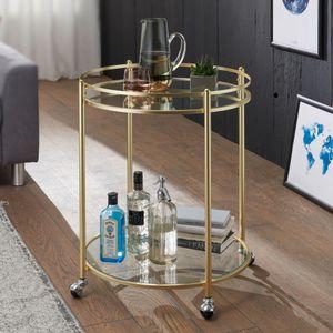 WOHNLING Design Servierwagen JAMES Gold Ø 57 cm Beistelltisch | Teewagen Metall mit Rollen | Küchenwagen mit Glasplatten | Barwagen Rund 75 cm hoch | Küchentrolley Modern | Rollwagen