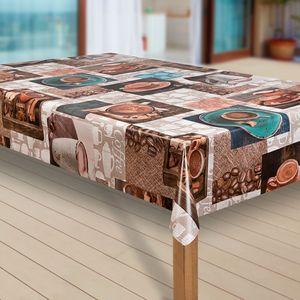 Wachstuch-Tischdecke Wachstischdecke Tischwäsche Abwaschbar Wachstuchdecke, Muster:Cafe Kaffee Espresso braun, Größe:140x240 cm