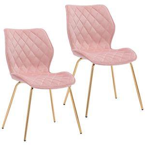 Duhome 2er Set Esszimmerstuhl Polsterstuhl aus Stoff Samt Hellrosa Pink gesteppt Metallbeine goldfarben