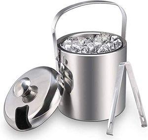 Eiseimer Eisbehälter sektkühler eiswürfelbehälter mit Zange und Deckel Edelstahl Weinkühle eiskübel eiskühler 1.3 L, Silber
