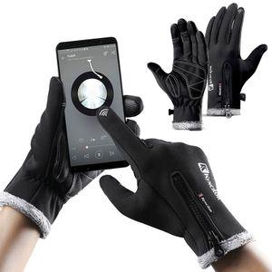 1 Paar Windproof Handschuhe Winter Warm Wasserdicht Motorrad Fahrrad Touchscreen, XL, schwarz