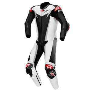 Alpinestars GP Tech v3 Tech-Air 1-Teiler Perforierte Motorrad Lederkombi Farbe: Schwarz/Weiß/Chrom, Grösse: 50