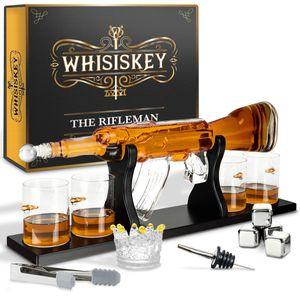 Whisiskey® Whisky Karaffe - Gewehr - Whiskey Set - 1000ML – Inkl. 4 Edelstahle Whisky Steine, 4 Whisky Gläser & Ausgießer - Whisky Dekanter - Geschenke für Männer – Whiskygläser