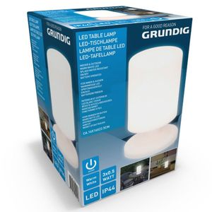 Grundig LED Garten Tischleuchte weiß Tischlampe Leuchte IP44 warmweiß Batterie