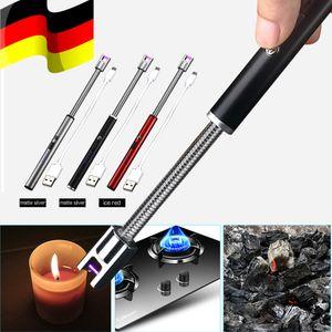 Rot USB ARC Elektrisch Feuerzeug Grill Stabfeuerzeug Lichtbogen Lighter BBQ 360° Kerzenanzünder Safe