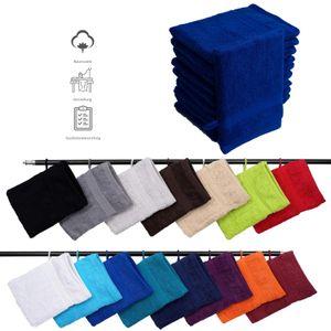 Müskaan - 10er Set Frottee Waschhandschuhe Elegance 16x21 cm 100% Baumwolle 500 g/m² Waschhandschuh, Farbe:royalblau
