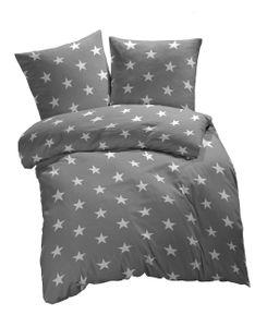 etérea Baumwolle Renforcé Bettwäsche - Sterne  Galaxy Bettwäsche - weich und angenhem auf der Haut  Bettbezug Stars  2 teilig 135x200 cm + 80x80 cm  Grau