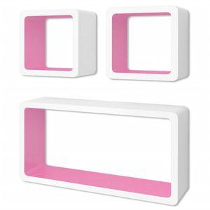 vidaXL 3er Set MDF Cube Regal Hängeregal Wandregal für Bücher/DVD, weiß-rosa