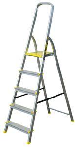 Aluleiter Klappleiter 5 Stüfen Sprossen Stehleiter Haushalts Leitern