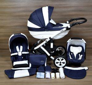 LUXUS Kombi Kinderwagen ALU  FLORENZ 3in1 Babyschale Autositz Babywanne Sportsitz (1,Hartgummiräder R1 weiss,weiss)