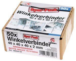 Winkelverbinder - 40 x 40 x 40 x 2 mm - Spar-Pack - 50 Stück