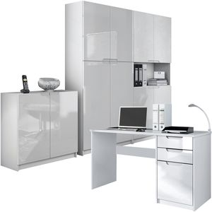 Büromöbel Arbeitszimmer komplett Set Logan, Korpus in Weiß matt / Fronten in Weiß Hochglanz