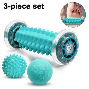 Fußmassageroller set, einschließlich Fußmassagerolle und Igelball, Fußmassageroller Um Plantarfasziitis, Muskelkater zu lindern, Stress abzubauen und den ganzen Körper zu entspannen