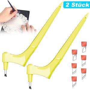 Bastelmesser Handhelder Tranchiermesser Papierschneidemesser, 360-Grad-drehbare Multifunktions-Schneidewerkzeuge mit 6 Klingen(Gelb)