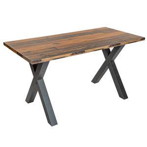 Industrial Schreibtisch MONTREAL 140cm Eiche Shabby mit schwarzem X-Gestell Arbeitstisch Tisch