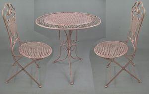 Gartengarnitur, 3-teilige Sitzgruppe, Gartenmöbel-Set Rustiko, Eisen, Rosa