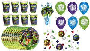 Teenage Mutant Ninja Turtles - Kindergeburtstags-Set (Becher,Teller,Trinkhalme,Ballons,Konfetti)
