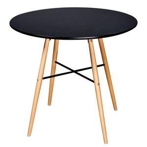 [Luxus] Esstisch,Küchentisch - Landhaus Stil Esszimmertisch für 4-6 Personen MDF Rund SchwarzNeu