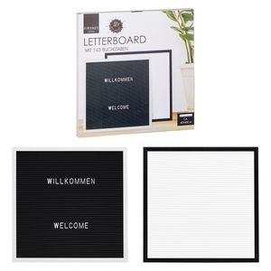 Letterboard Bilderrahmen mit 143 Buchstaben 40 x 40 cm schwarzer Rahmen