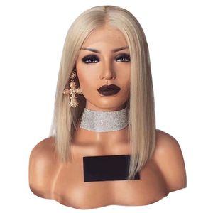 Frau Bob kurzes glattes Haar Perücke hitzebeständiges Rose Net synthetisches Haarteil