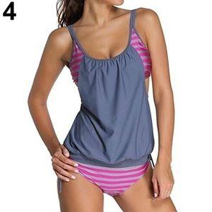 Damen Sommer Mode  gestreifte zweiteilige Badeanzug Tankini Bademode Grau XL
