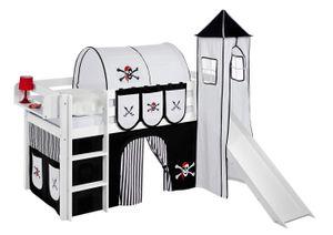 Lilokids Spielbett JELLE 90 x 190 cm Pirat Schwarz Weiß - Hochbett - weiß - mit Turm, Rutsche und Vorhang - Maße: 113 cm x 198 cm x 98 cm; JELLE3054KWTR-PIRAT-SCHWARZ-S-190