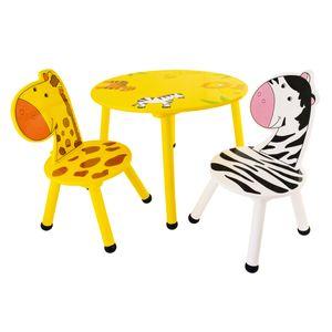 Bieco Kindersitzgruppe Savanne aus Holz, 3er Set | Sitzgruppe Kinder | Kindertisch mit Stühle | Spieltisch Baby | Kindersitzgruppe Holz | Safety 1st | Kinderstuhl und Tisch | Sitzhocker Kinder