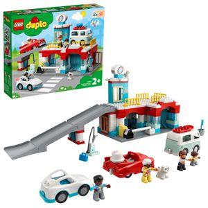 LEGO 10948 DUPLO Parkhaus mit Autowaschanlage, Spielzeugautos, Parkhaus Spielzeug für Kinder ab 2 Jahre , Kleinkinder Spielzeug