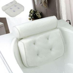 Komfort Badewannenkissen Badekissen Wannenkissen Kopfstütze mit Saugnäpfen,Weiß