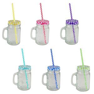 Trinkgläser Set 6Stück farbig sortiert Schraubdeckel Henkel Strohhalm Gläserset