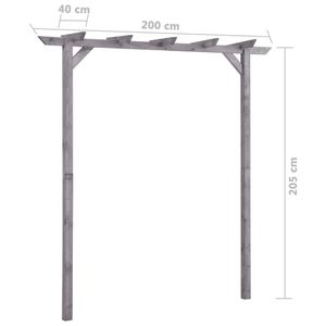 vidaXL Garten-Pergola Grau 200x40x205 cm Imprägniertes Kiefernholz