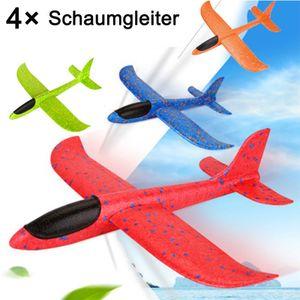 4 × 48 cm Kinderhand werfen Schaum Flugzeugspielzeug, Segelflugzeug Flugzeugmodell, Outdoor DIY Kinder Lernspielzeug