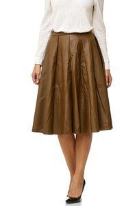 Damen Rock Leder Optik Faltenrock Midi Skirt Ausgestellt D2512, Farben:Braun, Größe:40