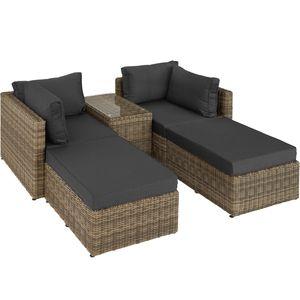 tectake Rattan Lounge mit Aluminiumgestell San Domino - natur