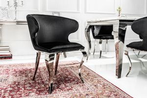 Eleganter Stuhl MODERN BAROCK II schwarzer Samt Edelstahl Esszimmerstuhl Sessel Samtbezug