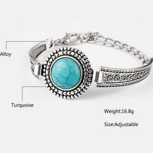 Boho Damen Herren Altes Silber Türkis Thai Runde Armband Ketten Armband