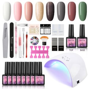 UV gel nail varnish set, 36 W, UV LED nail lamp, starter set, gel nail polish for UV nail designs, set of 8