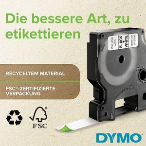 DYMO Original D1 Hochleistungs-Etikettenband | schwarz auf weiß |12 mm B x 5,5 m L | Permanent Haftend Schriftband | für LabelManager-Beschriftungsgerät