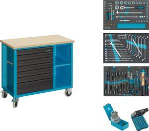 Hazet Fahrbare Werkbank mit Sortiment  177W-7/169 - Schubladen flach: 6 x 80 x 527 x 3
